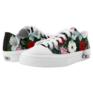 Low Cut Sneaker Shoes Roses and Flowers Design Printed Shoes
