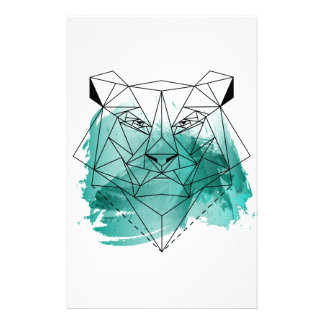 Low poly bear personalized stationery