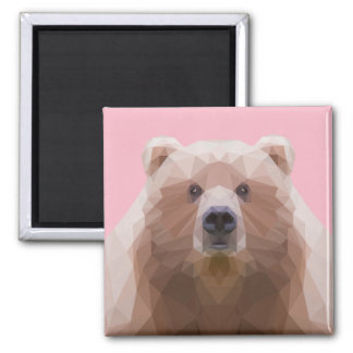 Low poly bear, pink magnet