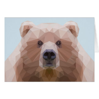 Low poly bear with blue background greeting card