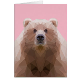 Low poly bear with pink background greeting card