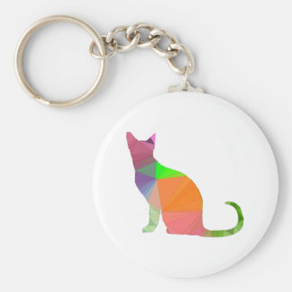 Low Poly Cat Silhouette Key Ring