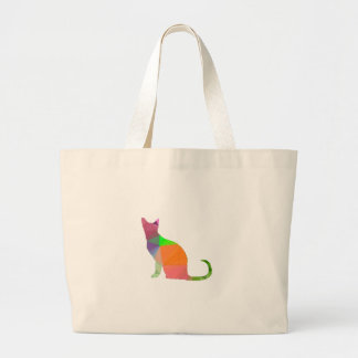 Low Poly Cat Silhouette Large Tote Bag