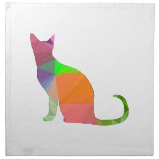 Low Poly Cat Silhouette Napkin