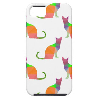 Low Poly Cat Silhouette Pattern Tough iPhone 5 Case