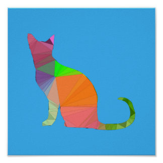 Low Poly Cat Silhouette Poster