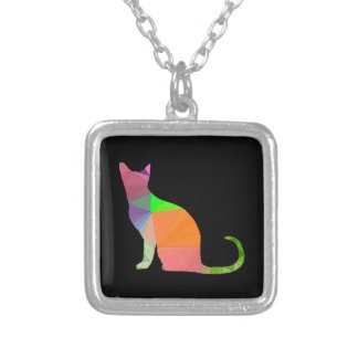 Low Poly Cat Silhouette Silver Plated Necklace