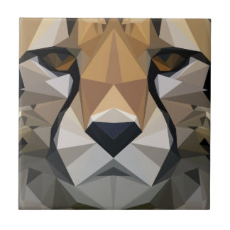 Low Poly Cheetah Ceramic Tile