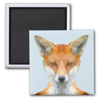 Low poly fox blue magnet