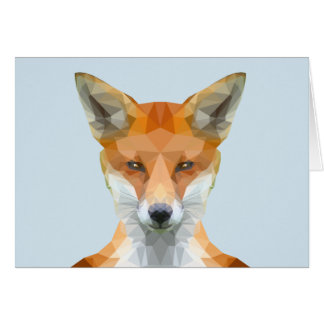 Low poly fox with blue background greeting card