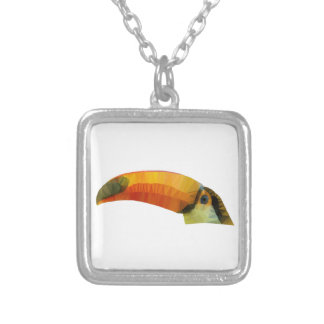 Low Poly Toucan Silver Plated Necklace