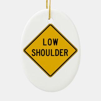 Low Shoulder, Traffic Warning Sign, USA Christmas Tree Ornament
