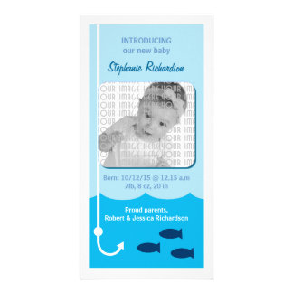 Low Tide Fishing Baby Announcement Card