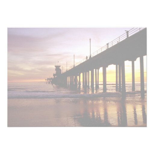 Low tide reflections at sundown, Huntington Beach Announcement