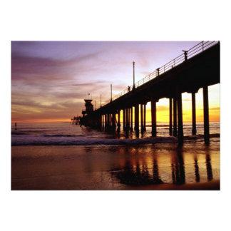 Low tide reflections at sundown Huntington Beach Invitations