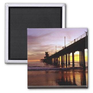 Low tide reflections at sundown, Huntington Beach Magnets