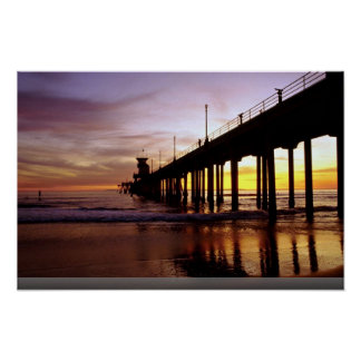 Low tide reflections at sundown, Huntington Beach Posters