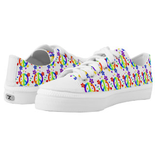 Low Top Shoes/Rainbow Peace Signs and Flowers
