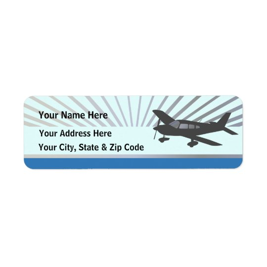 Low Wing Aeroplane Return Address Label