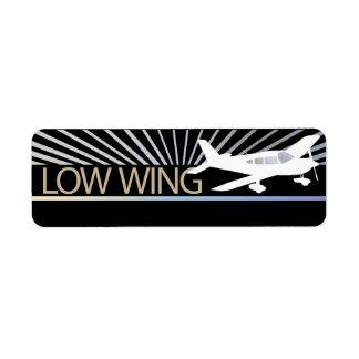 Low Wing Airplane Return Address Label