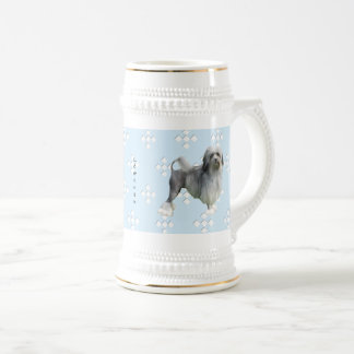 Lowchen Blue with White Diamond Beer Stein