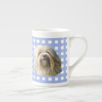 Lowchen on Blue Gingham Tea Cup