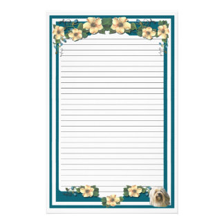 Lowchen on Dark Turquoise Floral [lined] Stationery