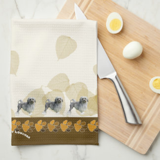 Lowchen on Tan Leaves and Pawprints Tea Towel