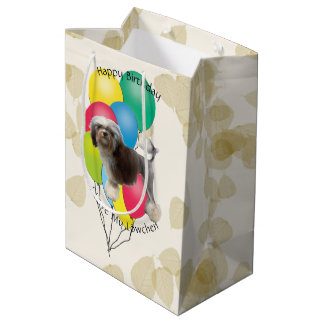 Lowchen on Tan Leaves with Birthday Balloons Medium Gift Bag