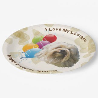 Lowchen on Tan Leaves with Happy Birthday Balloons Paper Plate