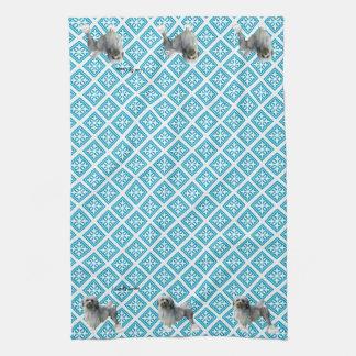 Lowchen on Teal Pattern Tea Towel