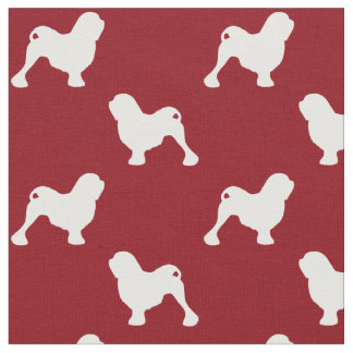 Lowchen Silhouettes Pattern Red Fabric