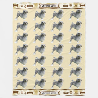 Lowchen, Tan Leaves with dogbones and pawprints Fleece Blanket