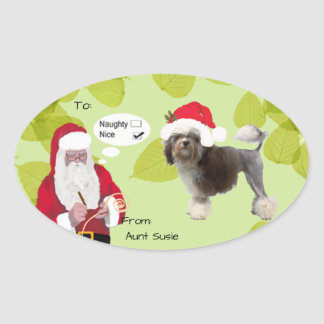 Lowchen w/Santa makin His Naughty or Nice List Oval Sticker