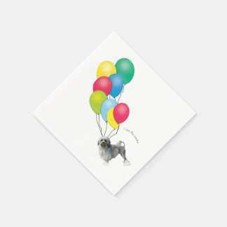 Lowchen with Balloons Paper Napkin