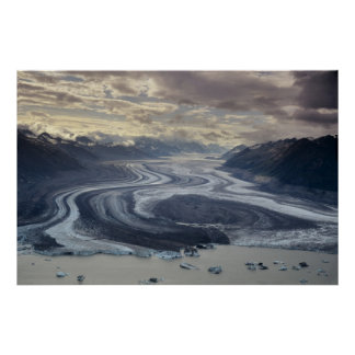 Lowell Glacier flows into the Alsek River in Poster