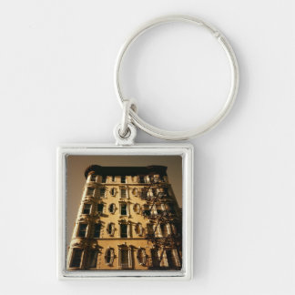 Lower East Side Building Silver-Colored Square Key Ring