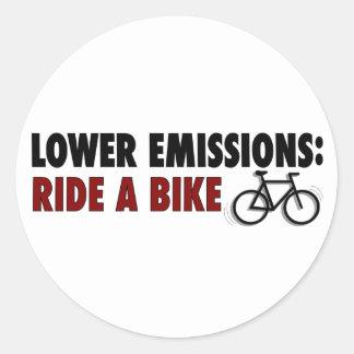 Lower Emissions Ride A Bike Classic Round Sticker