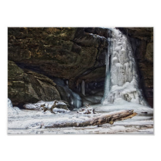 Lower Falls in Winter, Conkle's Hollow, Ohio Poster