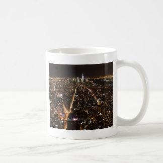 Lower Manhattan AT night from the Empire Basic White Mug