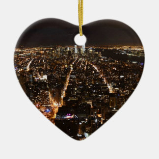 Lower Manhattan AT night from the Empire Ceramic Heart Decoration