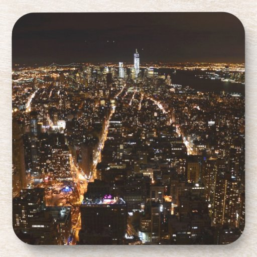 Lower Manhattan AT night from the Empire Drink Coaster