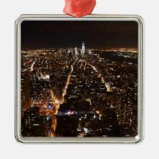 Lower Manhattan AT night from the Empire Silver-Colored Square Decoration
