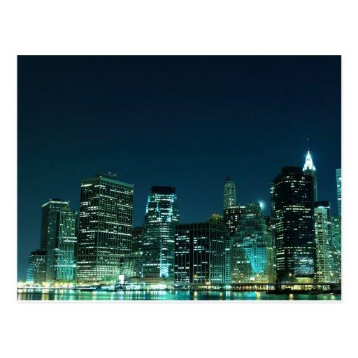 Lower Manhattan at Night, New York City Postcard