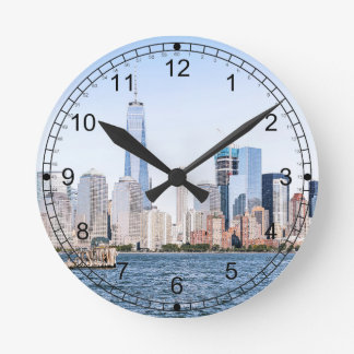 Lower Manhattan Color Sketch Wall Clock