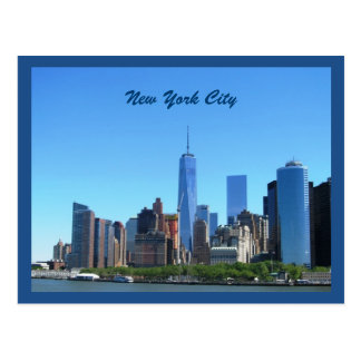 Lower Manhattan Skyline In Blue Postcard