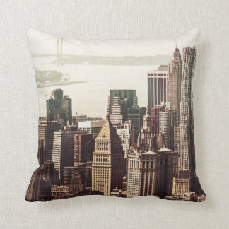 Lower Manhattan Skyline - View from Midtown Throw Pillow