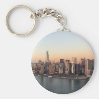 Lower Manhattan Sunset WTC Freedom Tower NYC Basic Round Button Key Ring