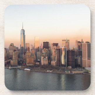 Lower Manhattan Sunset WTC Freedom Tower NYC Beverage Coaster