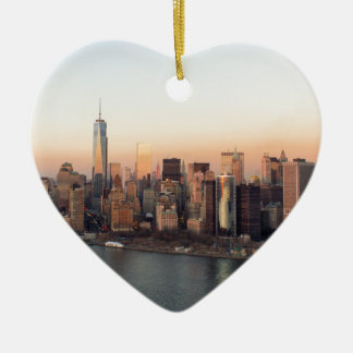 Lower Manhattan Sunset WTC Freedom Tower NYC Ceramic Heart Decoration